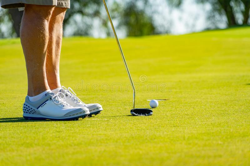 Golf at La Cala de Mijas, Spain on a sunny day with green grass and beautiful landscape. royalty free stock photography