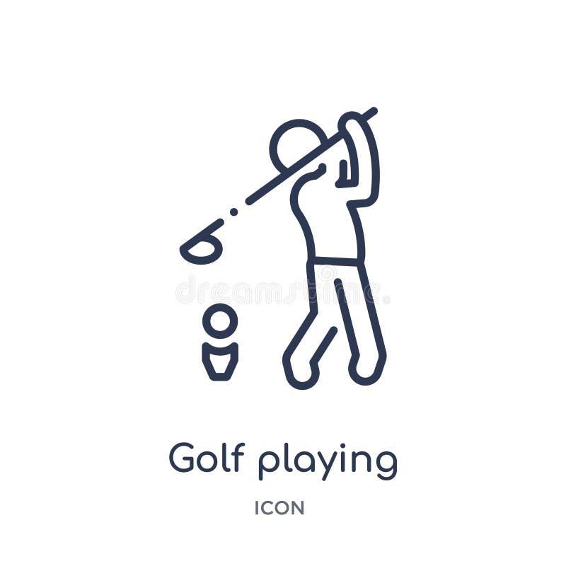 Golf linear que juega el icono de la actividad y de la colección del esquema de las aficiones Línea fina golf que juega el vector libre illustration
