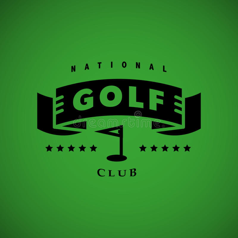 Golf-Logodesign des Vektors flaches stock abbildung