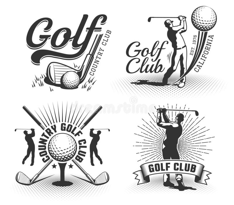 Set Of Vintage Sports Emblems Labels Badges And Logos Monochrome Style: Golf Club Vintage Badges And Logos Set Stock Vector