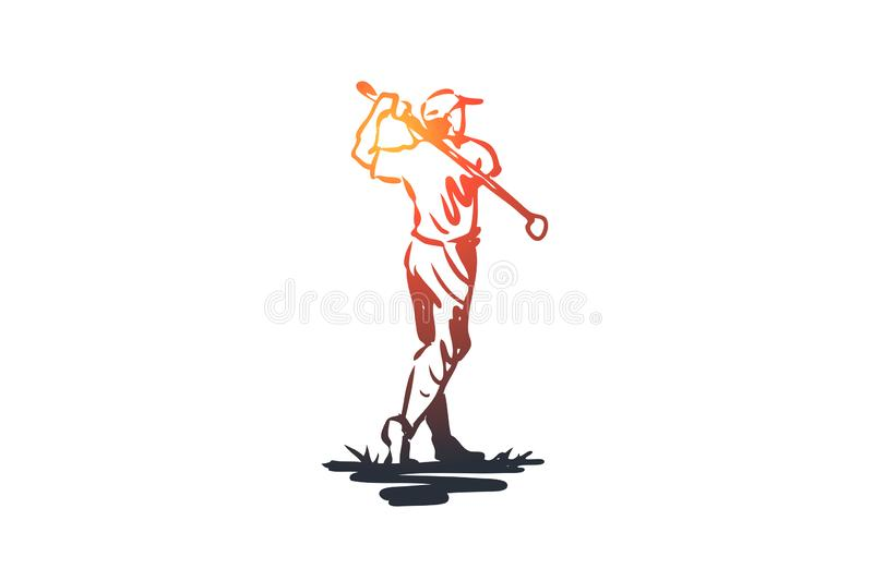 Golf, man, ball, game, sport concept. Hand drawn isolated vector. stock illustration
