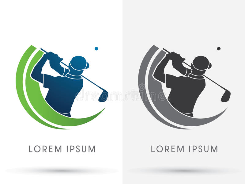 Golf. Man swinging golf , Golf players club, graphic