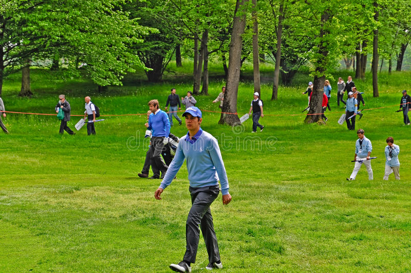Golf, Matteo Manassero und Robert-Felsen stockfotos
