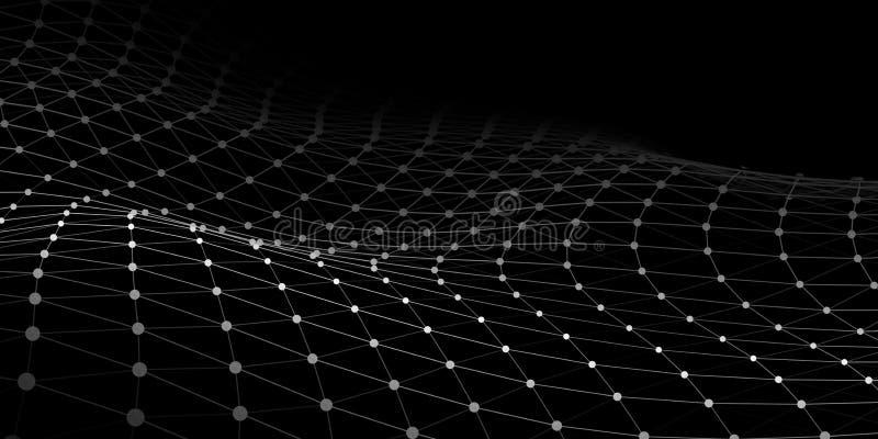 Golf met het verbinden van punten en lijnen op donkere achtergrond Golf van deeltjes De aansluting van het netwerk Vector illustr vector illustratie