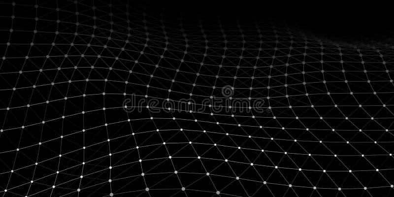 Golf met het verbinden van punten en lijnen op donkere achtergrond Golf van deeltjes De aansluting van het netwerk Vector illustr royalty-vrije illustratie