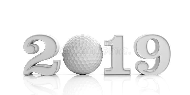Golf 2019 Nowy Rok 2019 odizolowywający na białym tle ilustracja 3 d ilustracja wektor