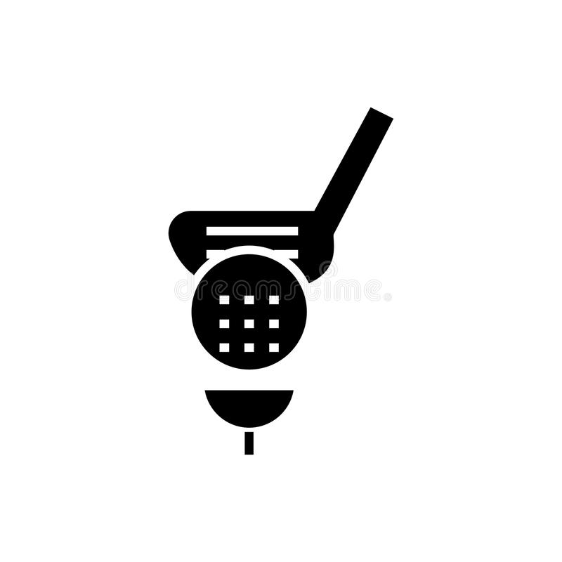 Golf o ícone, ilustração do vetor, sinal preto no fundo isolado ilustração stock