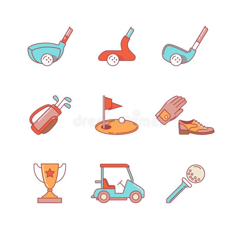 Golf o esporte e a linha fina ícones do equipamento ajustados ilustração royalty free