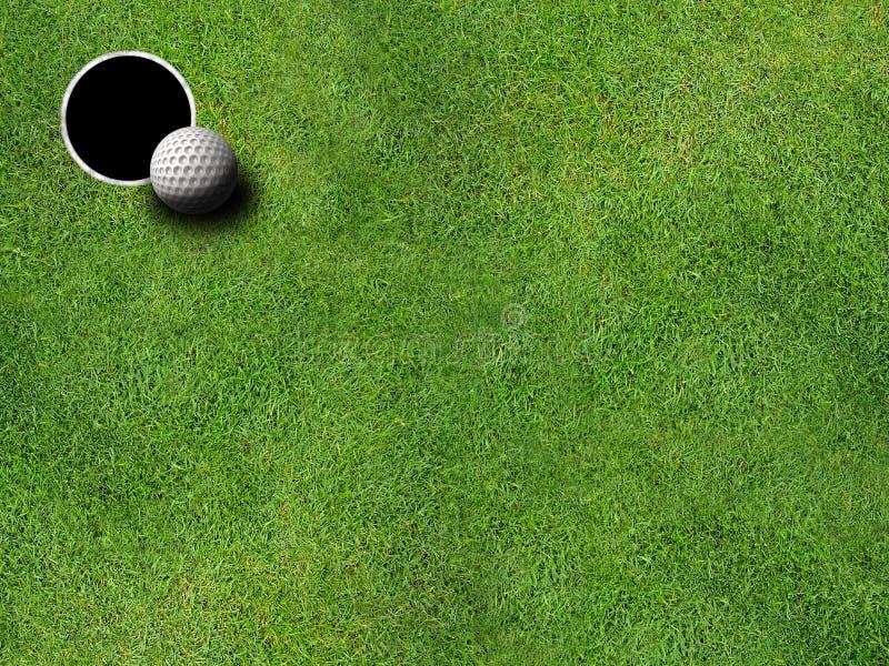 Golf o furo e a esfera fotografia de stock royalty free