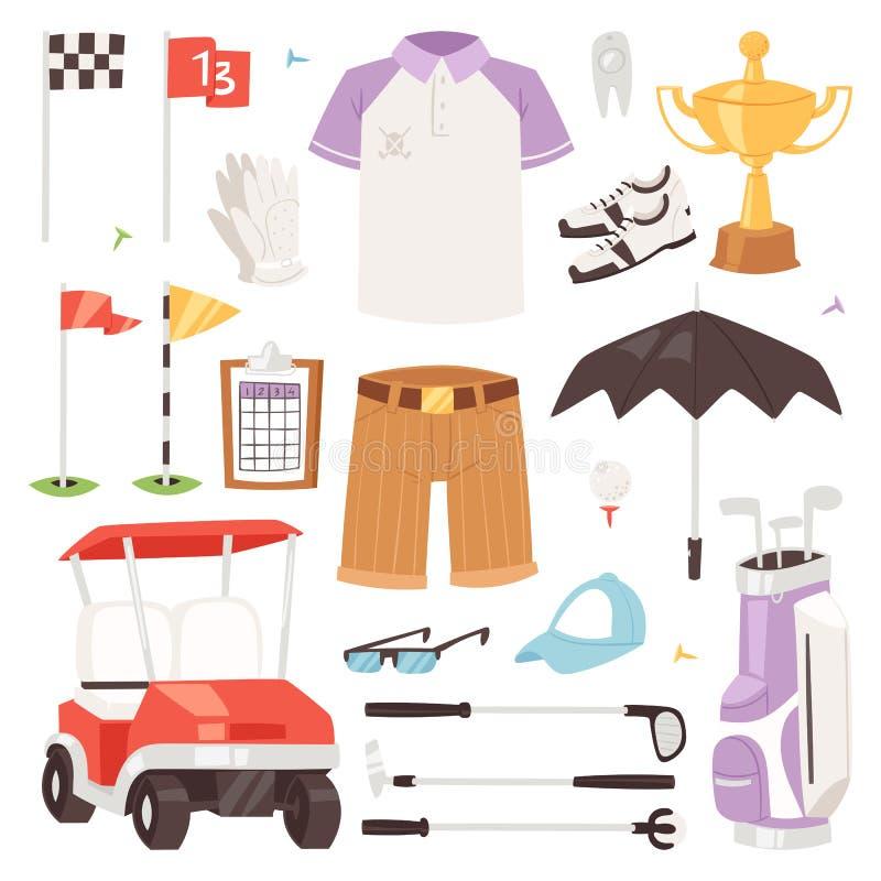 Golf o sportswear e o golfball dos jogadores de golfe do vetor para jogar no grupo da ilustração do golfclub de roupa golfing do  ilustração stock