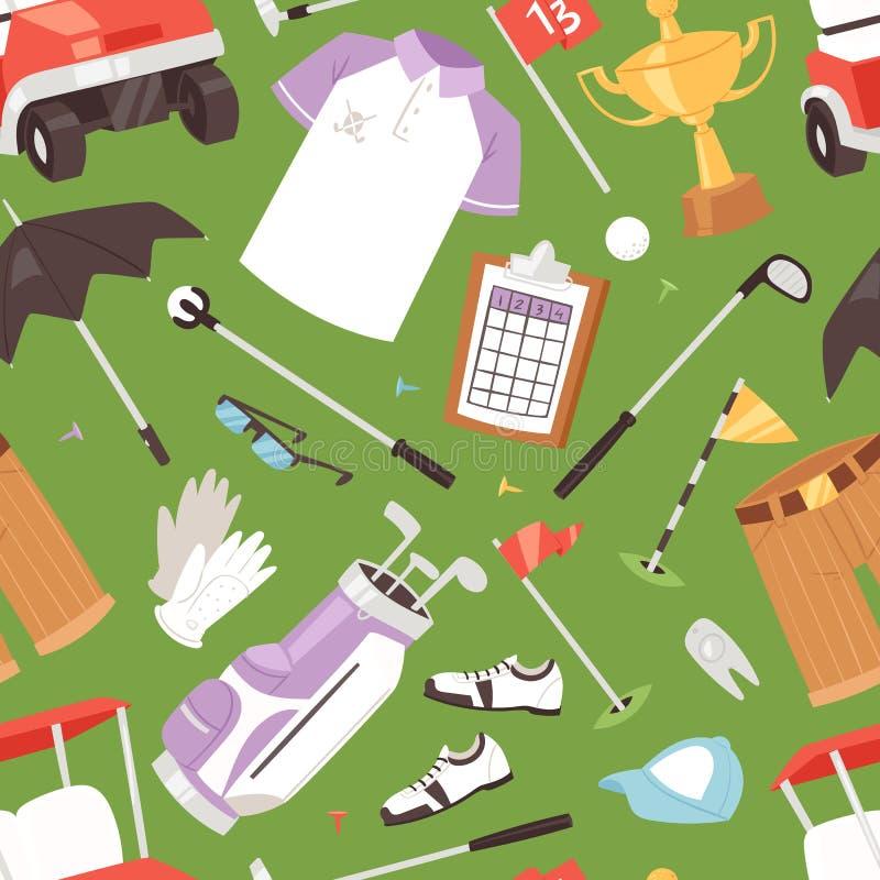 Golf o sportswear e o golfball dos jogadores de golfe do vetor para jogar no grupo da ilustração do golfclub de roupa golfing do  ilustração do vetor