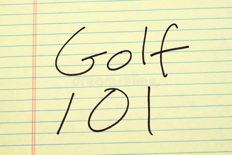 Golf 101 op een Geel Wettelijk Stootkussen royalty-vrije stock afbeelding