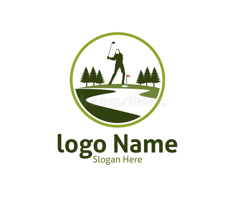 Golf outdoor sport vector logo design inspiration, a player hits the ball with a swing stick. For brand and presentation visual royalty free illustration