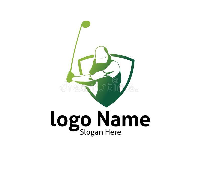 Golf outdoor sport vector logo design inspiration, a player hits the ball with a swing stick. For brand and presentation visual vector illustration