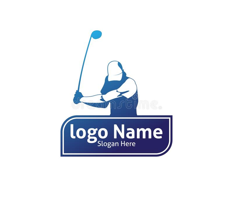 Golf outdoor sport vector logo design inspiration, a player hits the ball with a swing stick. For brand and presentation visual stock illustration