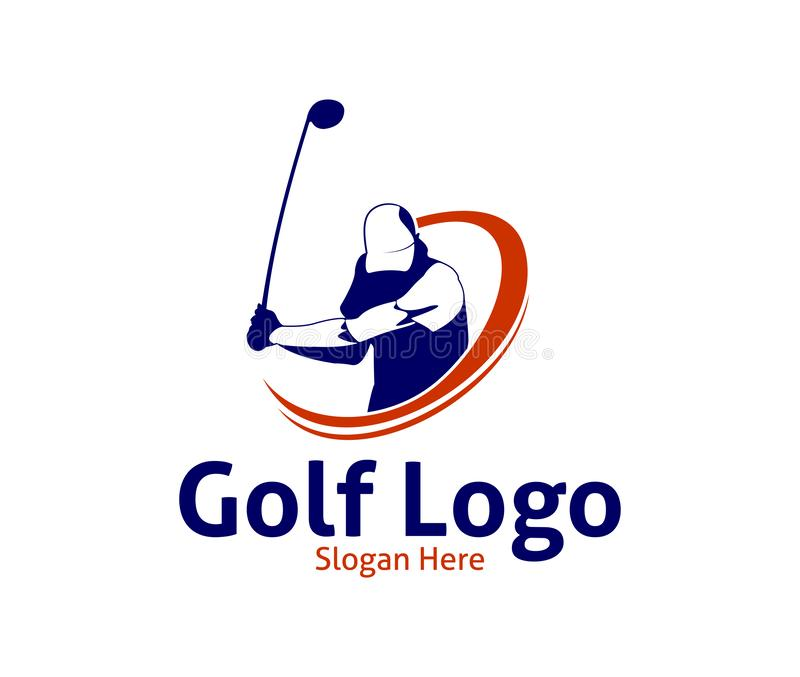 golf outdoor sport vector logo design inspiration, a player hits the ball with a swing stick vector illustration