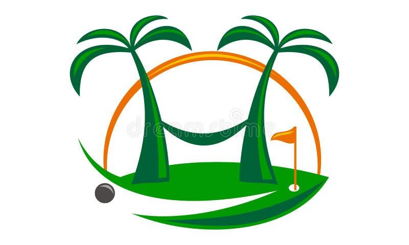 Golf på stranden stock illustrationer