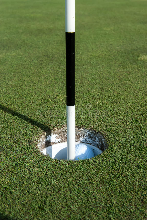 Golf Pin Marks a Hole on the Putting Green royalty free stock photo