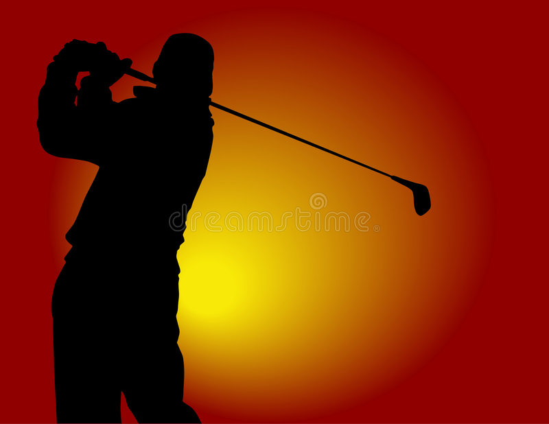 Golf player. Close-up of a golfer hitting vector illustration