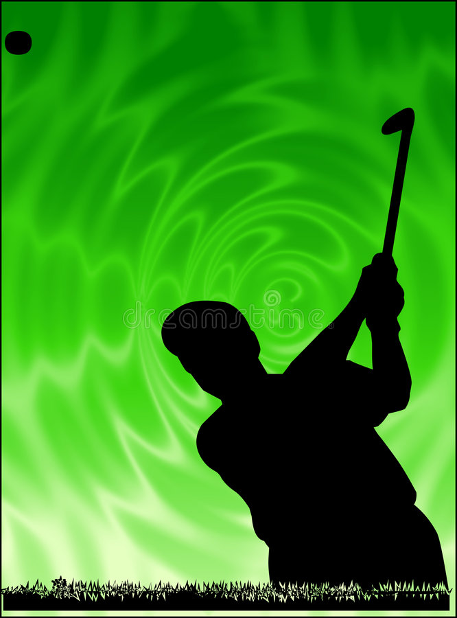 Golf player. Silhouette over green background stock illustration