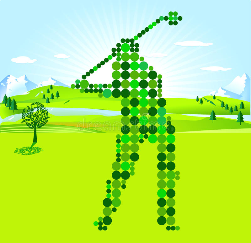 Golf Player green scores. Silhouette of golfer vector illustration