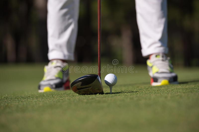 Golf player hitting shot royalty free stock photography