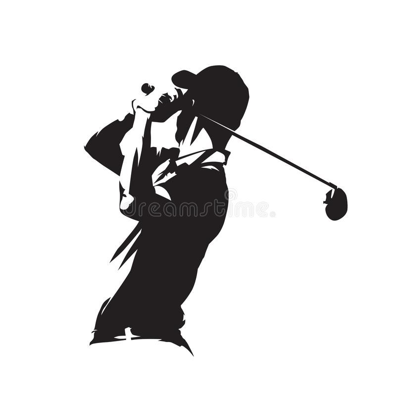 Golf player icon, golfer vector silhouette stock illustration
