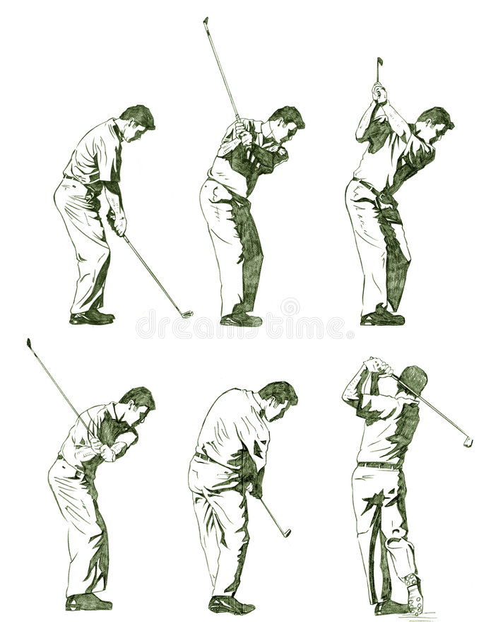 Golf player illustration shown in stages royalty free illustration