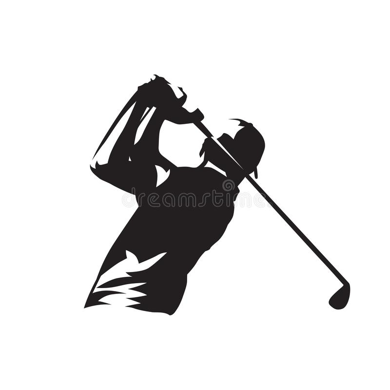 Golf player logo, isolated vector silhouette. Golfer ink drawing. Cut out illustration. Individual sport. Active people vector illustration