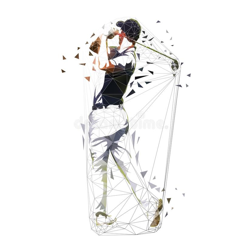 Golf player, low polygonal vector illustration. Isolated geometric golfer. Golf swing stock illustration
