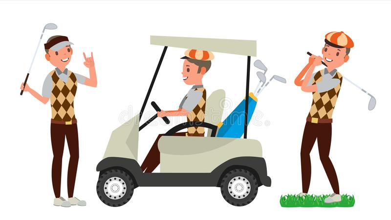 Golf Player Male Vector. Hitting Golf Ball. Playing Man. Different Poses. Cartoon Character Illustration. Professional Golf Player Vector. Playing Golfer Male stock illustration