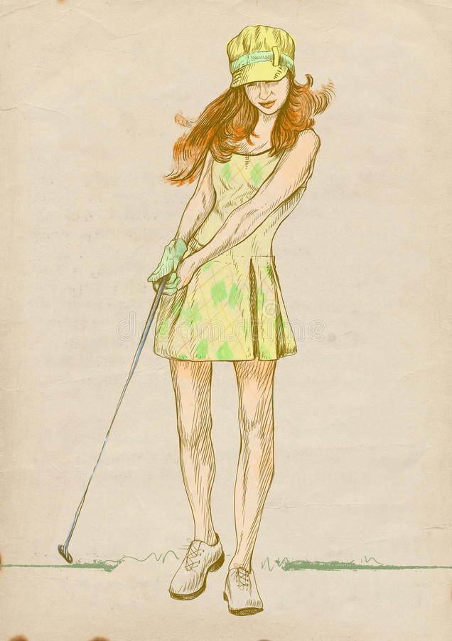 Golf player - modern woman - 2. Golfer - Full-sized (original) hand drawing (useful for live trace converting for the image - and others). Technique: digital stock illustration