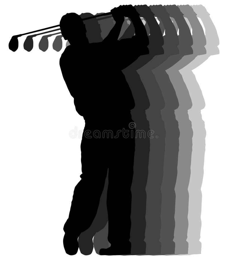 Free Golf Player Motion Trail Royalty Free Stock Image - 3279356