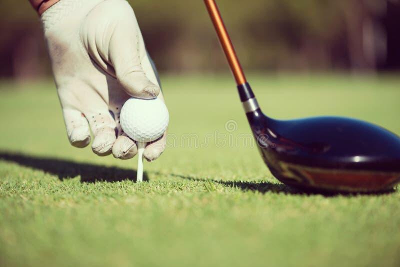 Golf player placing ball on tee stock photo