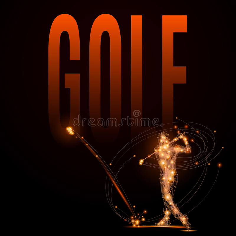 Golf player poly. Abstract line Golfer hits the ball. Silhouette of a man made of lines and points in motion. Polygonal background golf competitions. Fire style vector illustration