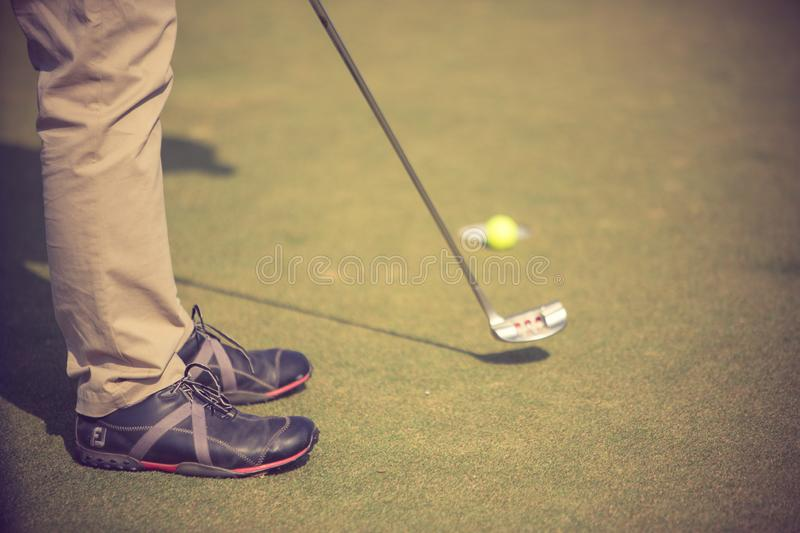 Golf player at the putting green hitting ball into a hole. royalty free stock photo