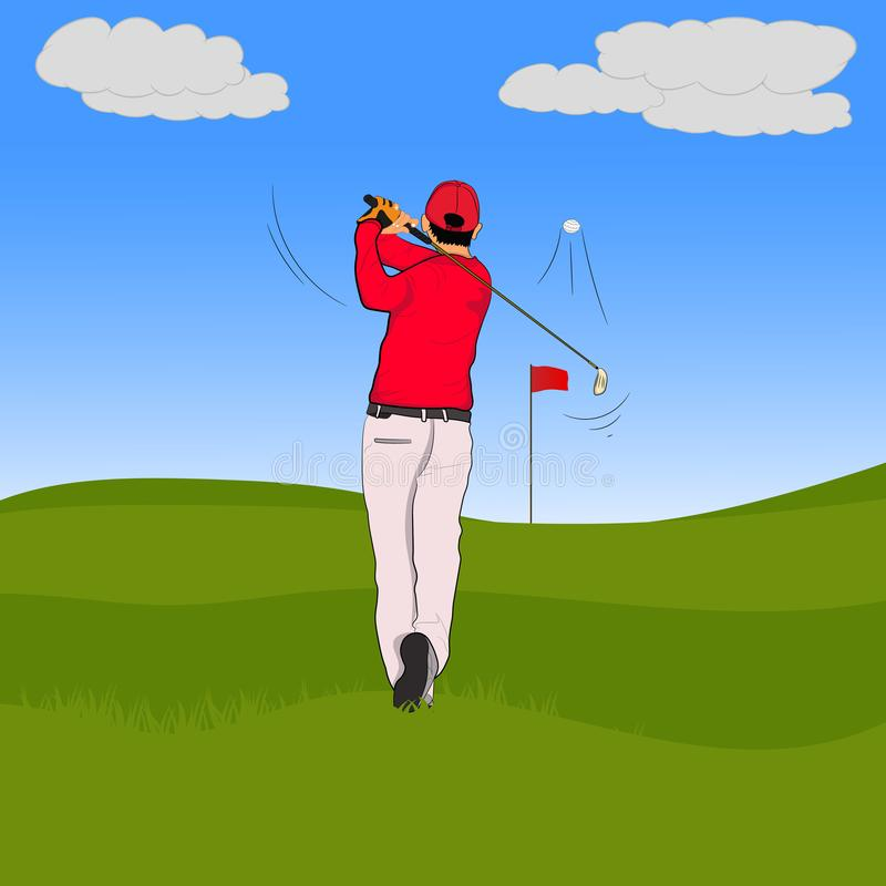 Golf player in red polo with Golf swing On the green lawn. Illustration royalty free illustration