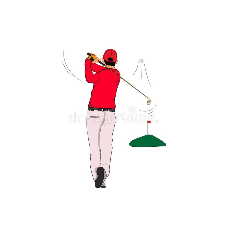 Golf player in red polo with Golf swing On the green lawn,  illustration. Isolated white background stock illustration