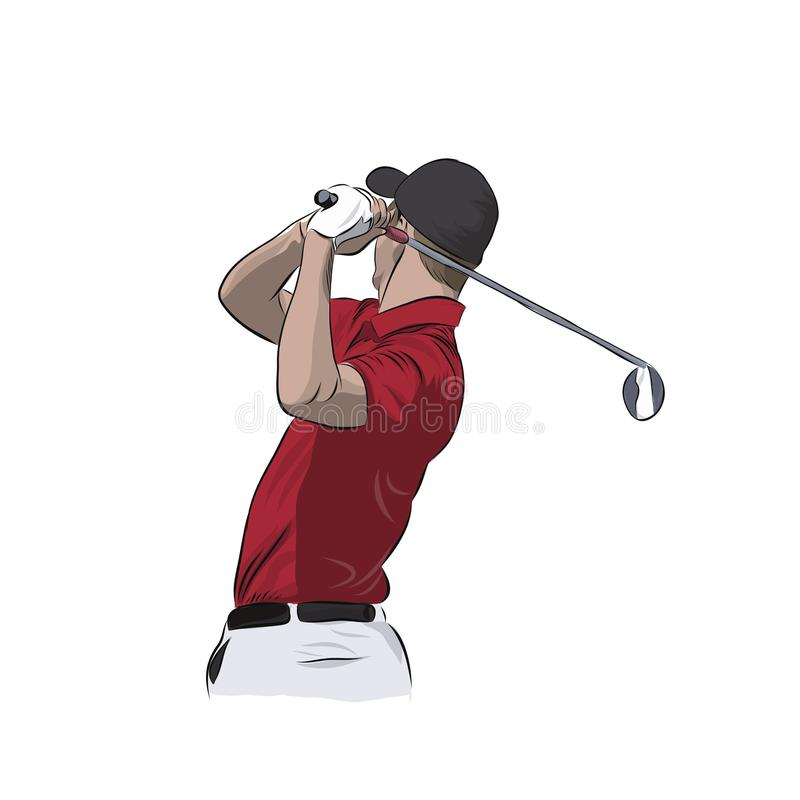 Golf player in red polo, vector illustration. Golf player in red polo, isolated vector illustration. Golfer athlete royalty free illustration