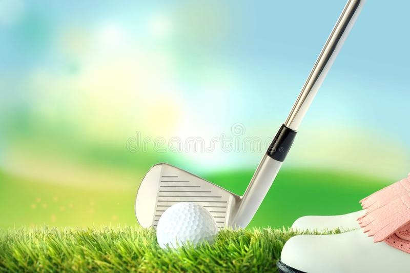 Golf player in response position, golf ball with golf club vector illustration