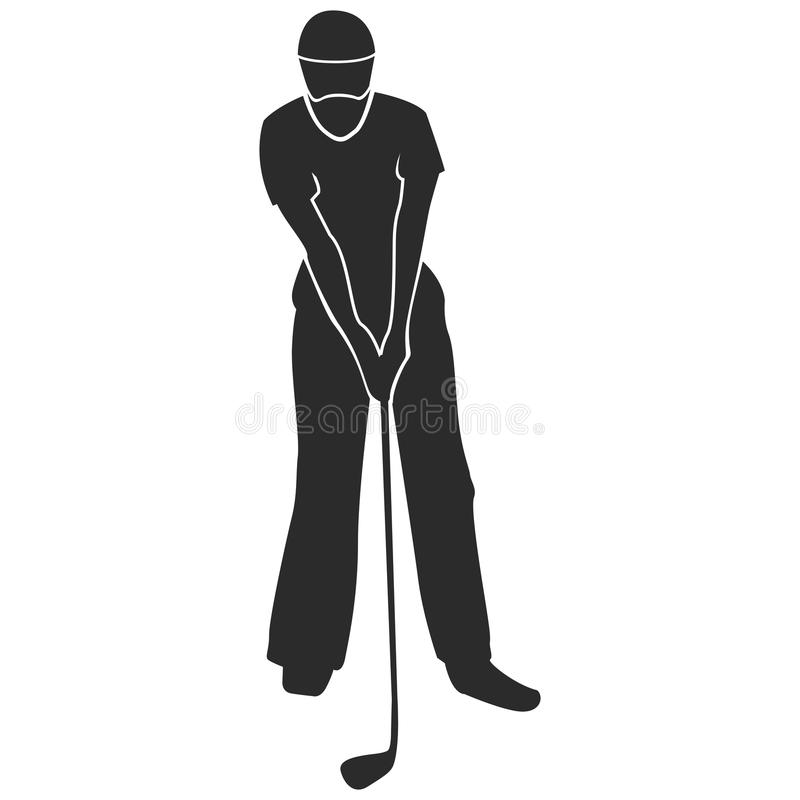 Golf player silhouette royalty free illustration