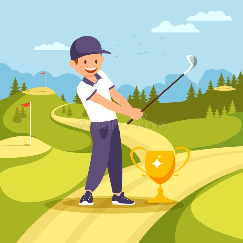 Golf Player Stand near Goblet with Club in Hands vector illustration