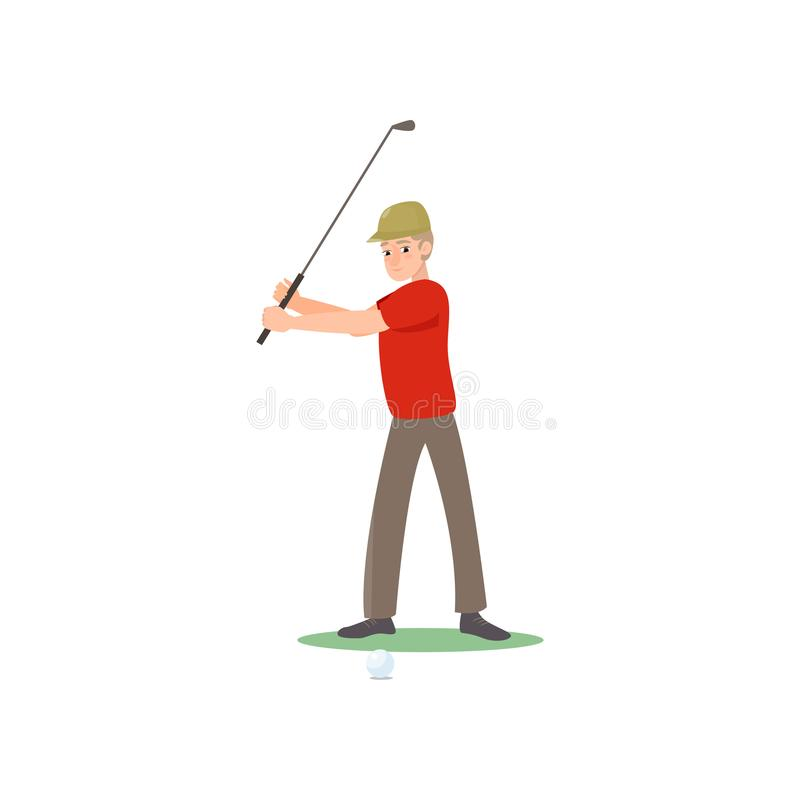 Golf player in red t-shirt and cap swinging club over head isolate on white background. Golf player swinging club over head looking forward. Man in red t-shirt vector illustration