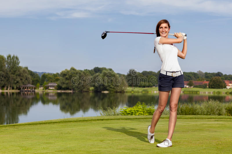 Download Golf player teeing off stock image. Image of beatiful - 26459949