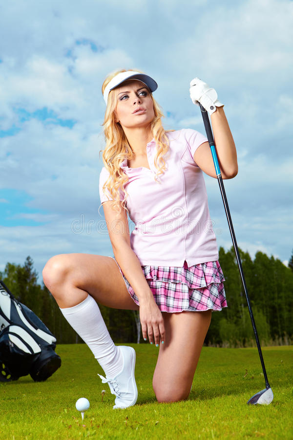 Download Golf player woman stock photo. Image of leaning, outside - 19611344