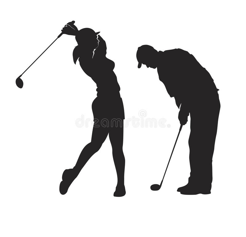 Golf Players royalty free illustration