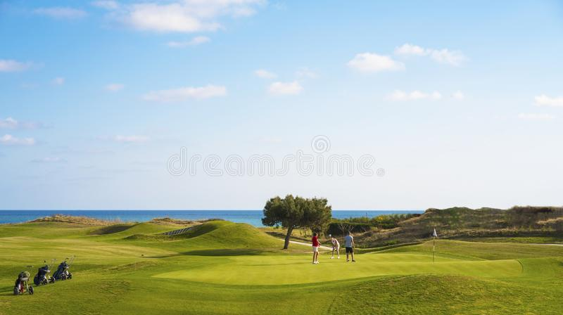 Golf players at golf course stock photography