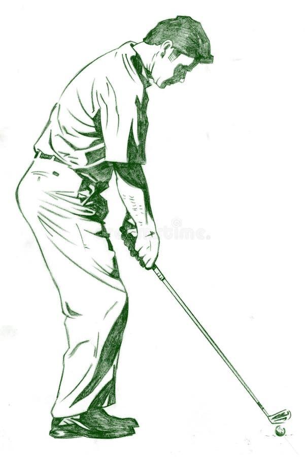 golf poserar swing royaltyfri illustrationer