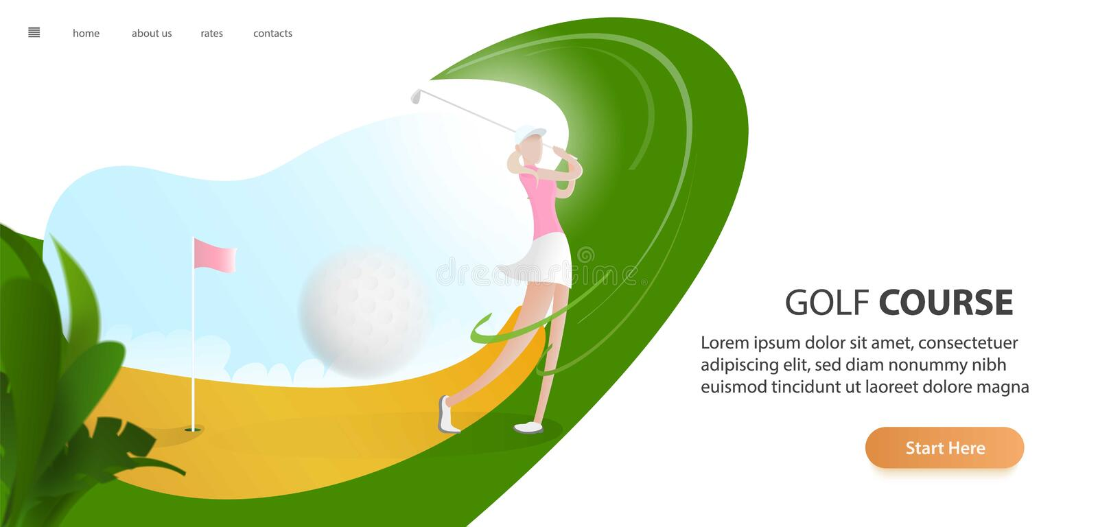 Golf poster with a female golf player hitting ball, golf car and flag on the golf lawn with text. Tournament theme. Landing page banner stock illustration