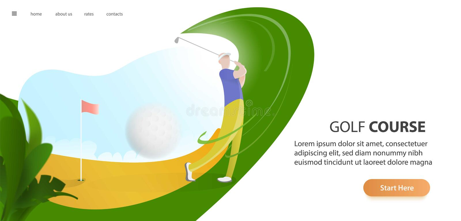 Golf poster with a male golf player hitting ball, golf car and flag on the golf lawn with text. Tournament theme. Landing page banner royalty free illustration
